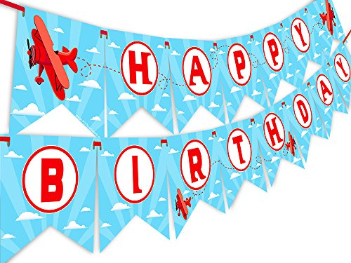Red Airplane Happy Birthday Banner Pennant - Airplane Party Decoration - Up Up and Away Party