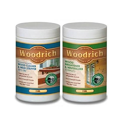 Complete Wood Cleaner & Wood Brightener Kit for Wood Decks, Wood Fences, Wood Siding, and Log Cabins - EFC38 & Citralic Restoration Kit - Woodrich Brand - Covers up to 750 SQ FT - Easy to Use