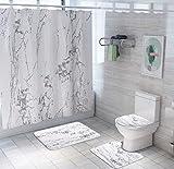 JZZCIDGa Weiße Marmorierung Badematte Set 4-Teilige Badematte U-Förmige Konturmatte Duschvorhang Toilettensitzbezug Badematte Anti Slip