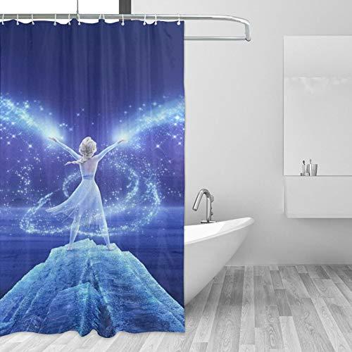 Die Eiskönigin Elsa Duschvorhang-Sets Badezimmer Dekor mit Haken Wasserdicht Waschbar 167,6 x 182,9 cm