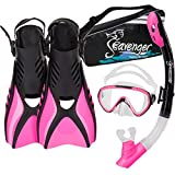 Seavenger Voyager Kid's Snorkeling Set with Gear Bag (Pink)