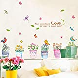 Mariposa libélula Plantas de Flores en Maceta Pegatina de Pared para Salas de Estar jardín Ventana decoración de Cristal decoración del hogar Vinilo Arte Mural