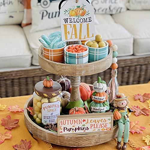 Fall Harvest Decorative Tray Decor Bundle. 9pc Rustic Farmhouse Decorations. Scarecrow, Autumn Signs, Stacked Pumpkins, Pumpkin Spice Candy Jar, Garland. Thanksgiving, Grateful, Blessed