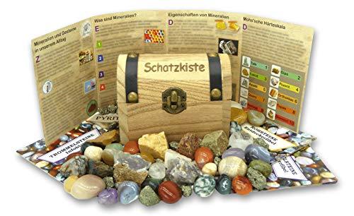 Schatzkiste gefüllt mit Edelsteinen, Pyrit und Rohsteinen + informativen Beilageheften zum Lernen über den Inhalt | Ideal für Kinder bei der Schatzsuche, zum Spielen, Entdecken und Ausgraben