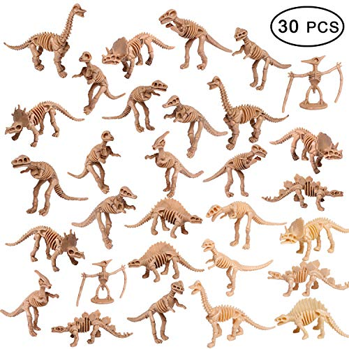 UPINS 30 Pack Dinosaur Fossil Skeletons 3.7 Inch Assorted Dinosaur Skeleton Toy Figures Dino Bones Educational Gift for Science Play Dino Sand Dig Party Favor Decorations