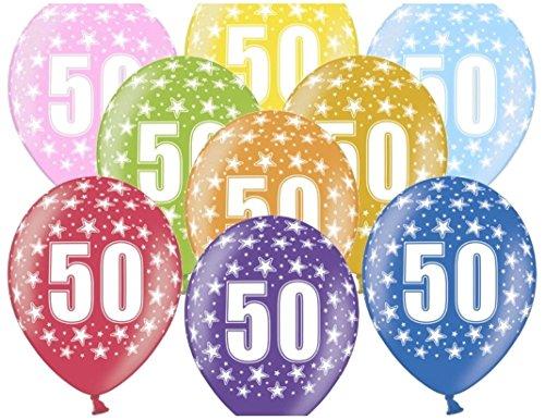 Libetui 10 kunterbunte Luftballons Geburtstag 50 Jahre Metallic 30cm Deko zum 50. Geburtstag 50. Jubiläum Goldene Hochzeit Party Happy Birthday Nummer 50