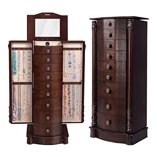 Giantex Standing Jewelry Cabinet, 15.75in X 39.75in X 11.6in, Antique Walnut
