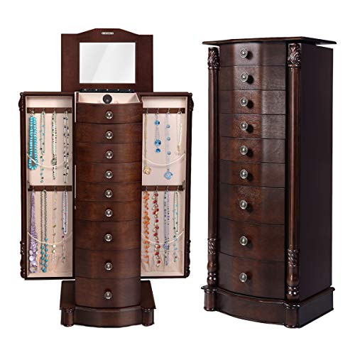 Giantex Standing Jewelry Cabinet, 15.75in X 39.75in X 11.6in, Antique Walnut