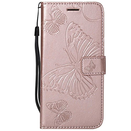 DENDICO Cover Galaxy A6, Pelle Portafoglio Custodia per Samsung Galaxy A6 Custodia a Libro con Funzione di appoggio e Porta Carte di cRossoito - Oro Rosa