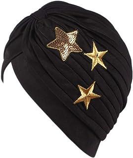 MoreChioce Indiano Donna Turbante con Paillettes,Elastico Cuffia Beanie,Berretto di Panno,Cappellino Yoga,Accogliente Capp...