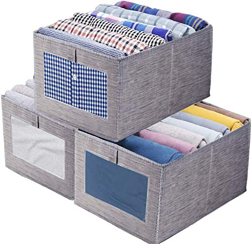 Tosoda 3 Pack of Wardrobe Storage Box Organizer Foldable Clothes Storage Box Bins for Wardrobe...