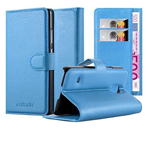 Cadorabo Custodia Libro per Samsung Galaxy S5 MINI / S5 MINI DUOS in CELESTE BLU - con Vani di Carte, Funzione Stand e Chiusura Magnetica - Portafoglio Cover Case Wallet Book Etui Protezione