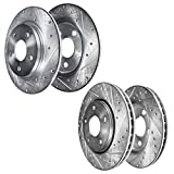 Detroit Axle - RWD V6 Front 12.60'(320mm) and Rear Drilled and Slotted Disc Brake Kit Rotors Replacement for 2005-2019 300 - [2009-2020 Dodge Challenger] - 2006-2020 Charger - [2005-2008 Magnum]