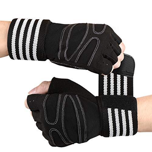 Tomuku Fitness Handschuhe Trainingshandschuhe mit Handgelenkstütze Gewichtheben Handschuhe für Krafttraining und Bodybuilding wie Hanteln, Klimmzüge, Gewichtheben usw (Schwarz, L)