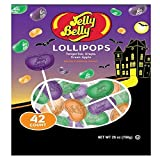 Adams & Brooks (1) Bag Jelly Belly Lollipops - 42 Individually Wrapped Pieces - Jelly Bean Shaped in Tangerine, Grape & Green Apple Flavors - Halloween Candy Net Wt. 25 oz