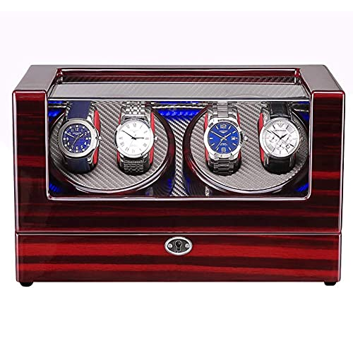 AMAFS Reloj Bobinadores para 4 relojes,Caja de reloj mecánico de cuerda automática de madera con motor silencioso,Festival de luz LED azul