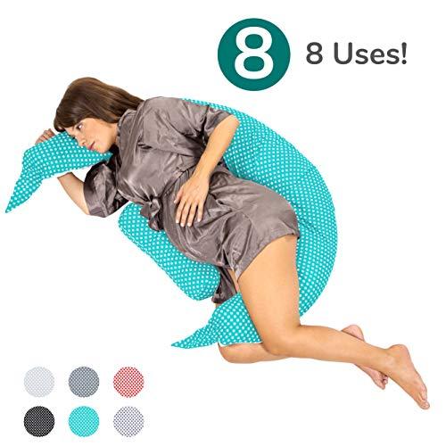 Koala Babycare® Almohada para Embarazadas para Dormir y Amamantar U pillow con soporte lumbar, cervical - Cojin maternidad con cordones de seguridad - re-ductor de cuna y paracho-ques - KHUGS Plus