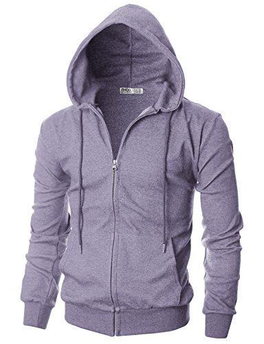 OHOO Mens Slim Fit Long Sleeve Lightweight One-Tone Coverseam Zip-up Hoodie with Kanga Pocket//DCF136-VIOLET-M
