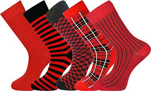 Mysocks® 5 Paar Herren Socken Auswahl von Rot Extra feine gekämmte Baumwolle Größe 40-45