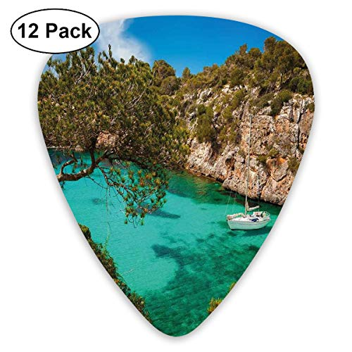 Guitar Picks12pcs Plectrum (0.46mm-0.96mm), Small Yacht Floating In Sea Majorca Spain Rocky Hills Forest Trees Scenic View,For Your Guitar or Ukulele