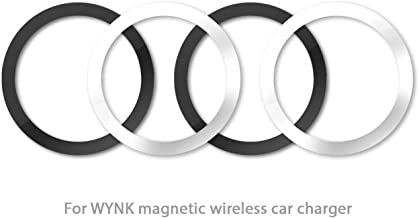 WYNK Metal Rings for Magnetic Wireless Charger Round Ring 59MM/2.32IN Magnetic Wireless Car Charger Car Mount Phone Holder (2 Black + 2 Silver)