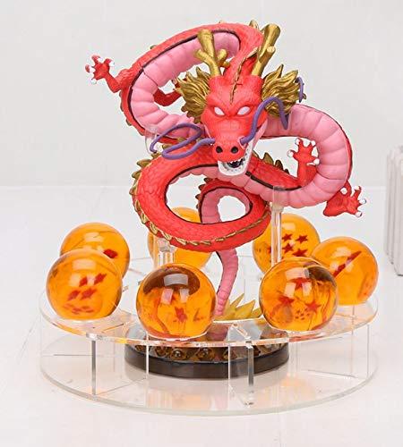 M C S Figura Dragon Shenron PVC Dragon Ball Z (Rojo) + 7 Bolas de Dragon 3,5 cm diametro + Estante Expositor DBZ Figura Coleccion Goku Dragon Ball Super Espectacular Akira