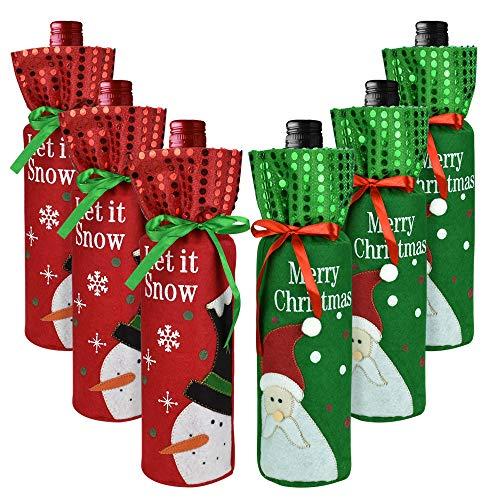 BUZIFU 6 Stück Weihnachten Weinflasche Taschen Weihnachtsmann Wein Flaschenbeutel Schneemann Geschenktüten Weihnachten Flaschen Abdeckungen Rotwein Taschen für Weihnachtsfeier Tisch Dekorationen