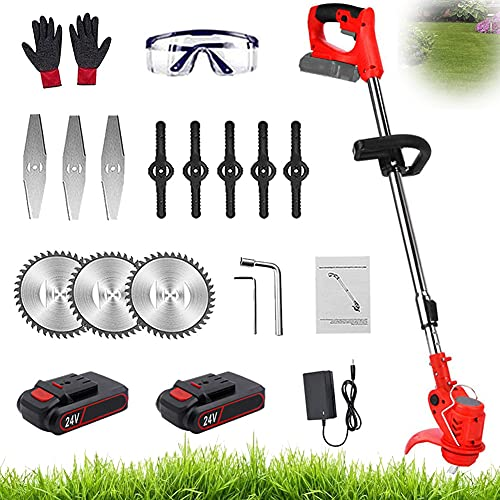 Battery Grass Trimmer Cordless Garden Strimmers Electric Weed Edger Lawn Mower with 3Pcs Saw Blades & 24V Lithium Battery Powerful Lightweight Telescopic Pruning Cutter Brush Kit for Outdoor,red
