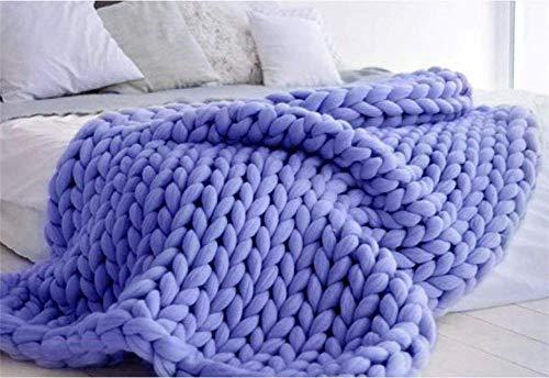 HMAIBO Chunky Knit Blanket Throw Handmade Bulky Yarn Knitting Merino Blankets for Bedroom Decor Bed Chair Sofa Pet Mat Rug Denim Blue 100×120