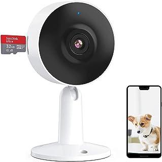 Camara Wi-Fi de Interior Seguridad para el Hogar 1080P FHD, Cámara Vigilancia (Incluye una Tarjeta SD 32G), Visión nocturn...