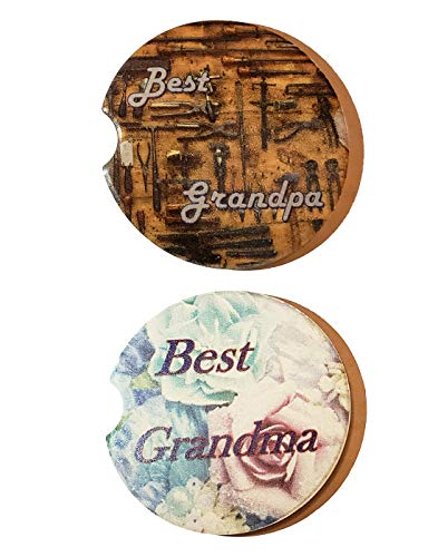 """Best Grandma, Best Grandpa Gifts for Grandparents Small 2.56"""" Pack of 2 Different Designs Ceramic Car Cupholder Water Absorbent Coaster Set"""