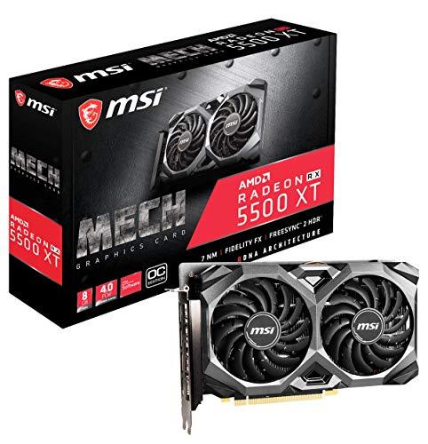 MSI Gaming Radeon RX 5500 XT Boost Clock: 1845 MHz 128-bit 8GB GDDR6 DP/HDMI Dual Torx 3.0 Fans Crossfire Freesync VR Ready Graphics Card (RX 5500 XT MECH 8G OC), Model: (Renewed)