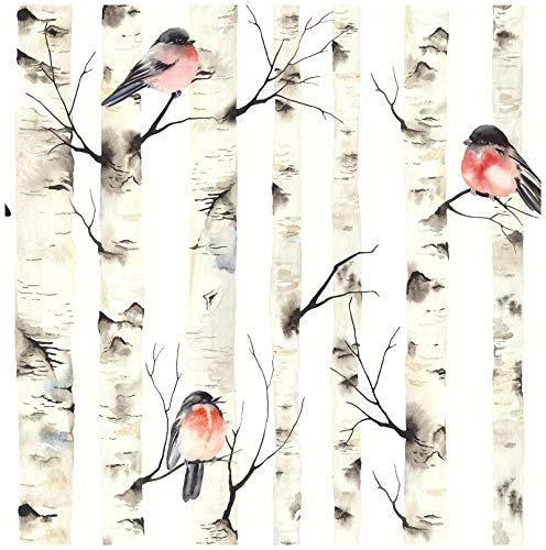 HaokHome 92075 - Papel pintado para decoración de pared (45 x 299,7 cm), diseño de árboles de abedul, color blanco, beige, gris y rojo