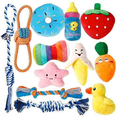 Dog Toys for Small Dogs, Toozey 12 Pack Cute Small Dog Toys, Stuffed Plush Puppy Toys Small Dogs, Ropes Puppy Chew Toys, Non-Toxic and Safe
