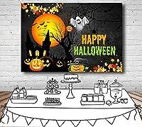 写真の背景 スタジオのカスタム写真のためのハッピーハロウィンの日の写真の背景ダークナイトムーンゴーストパンプキンの背景 パーティー バナー 大 バックグラウンド 誕生日の背景 壁の装飾