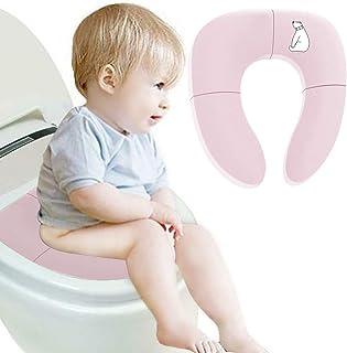 LINXAS 補助便座 おまる 折りたたみ トイレトレーニング 子供用 幼児用便座 キッズ用便座 子どもトイレ ベビー補助便座 (ピンク)
