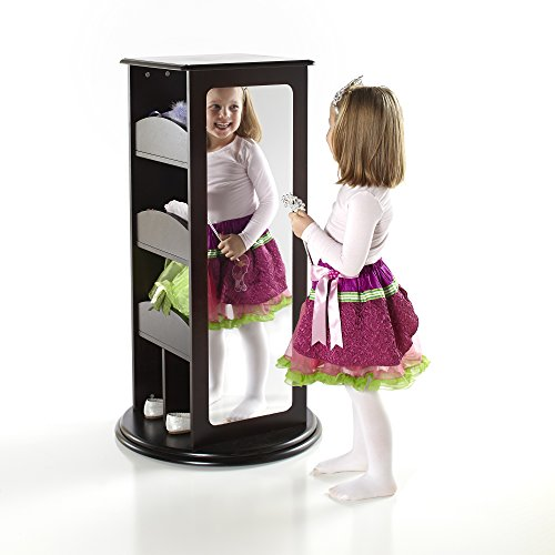 Guidecraft Rotating Dress Up Storage - Espresso: Spinning Closet for Kids with 2 Mirrors, Cubbies & Hooks - Dramatic Play Organizer for Toddlers Playroom