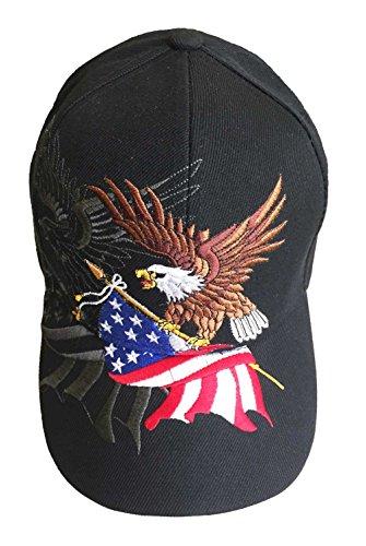 aesthetinc Patriotische amerikanische Flagge Design Baseball Cap USA 3D Stickerei - Schwarz - Einheitsgröße