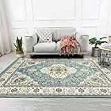 Dmqpp Traditioneller Vintage-Teppich mit orientalischem Blumenmuster, Blau / cremefarben, 1.3 ft x 4 ft