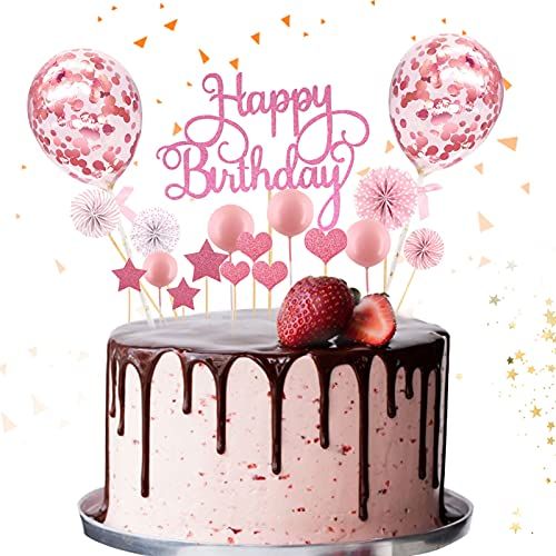 Tortendeko Rosa,Kuchen Topper,Kuchendekoration,Geburtstag Torte Topper,Cake Topper,Happy Birthday Kuchendeko,Kuchen Deko für Geburtstag mit Sternen,Konfetti Ballon,Liebe und Papierfächer