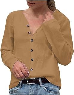 〓COOlCCI〓Womens Button Down V Neck Shirts Long Sleeve Blouse Casual Top T-Shirt Work Pullover Sweatshirt Tees Tunic