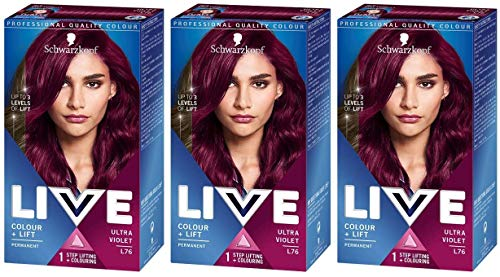 Schwarzkopf Live Colour + Lift Hair Dye, Permanent Colour with Vibrant Results – 3x L76 Ultra Violet