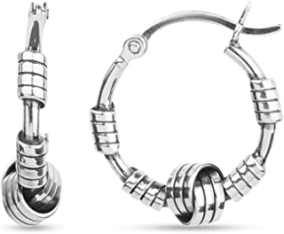 Sterling Silver Jewelry Italian Design Love Knot Balinese Hoop Earrings for Teen Women