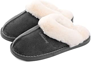 Women Men Fur Slippers Memory Foam Fluffy Slip-on House Suede Lined/Anti-Skid Sole, Indoor & Outdoor