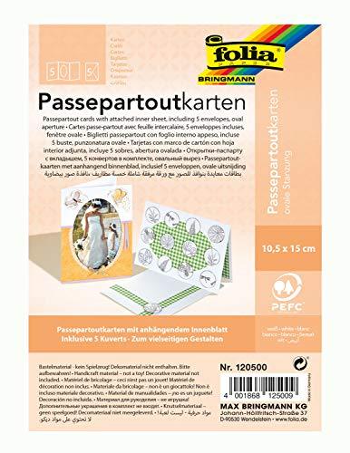 folia 120500 - Passepartouts mit ovaler Stanzung, ca. 10,5 x 15 cm, 5 Karten (220 g/qm) und Kuverts, weiß - ideal für Einladungen, Glückwunsch- oder Grußkarten