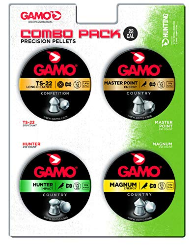 Gamo 63209295554 Combo Pack Assorted Air Rifle Pellets.22 Caliber (TS-22, Hunter, Magnum, Master Point)