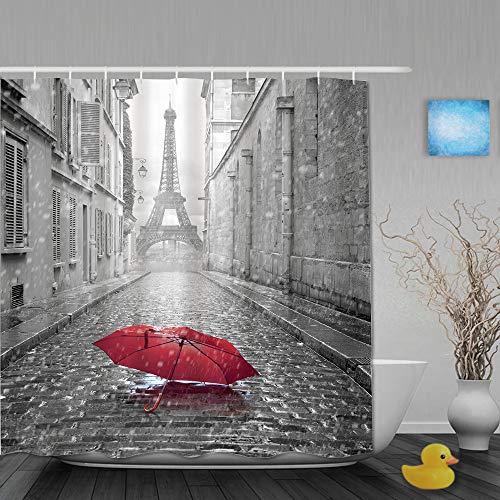 AIKIBELL Cortina de baño Repelente al Agua,Torre Eiffel Vista Desde la Calle de París,Cortinas de baño de poliéster de diseño 3D con 12 Ganchos