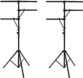 ASC (2) Pro Audio Mobile DJ Lighting Multi Arm T Bar Portable Light Stand up to 12 Foot Height Tripod
