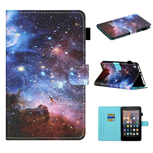 LMFULM Case for Amazon Fire 7 2015/2017/ 2019 (7.0 Inch) PU Magnetic Leather Case Protective Shell Wallet Holster with Sleep/Wake Stand Case Flip Cover Outer Space