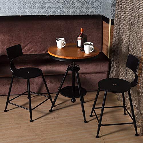 MEI XU Conjunto de Mesa y Silla, Mesa de casa Retro combinación de Metal y Silla balcón Patio de Ocio Mesa y sillas de 3 Piezas, 5 Estilos for Elegir @ (Color : C, Size : 1 Table and 2 Chairs)